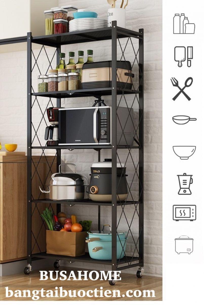 Kệ xếp gia đình 5 tầng để đồ dùng nhà bếp