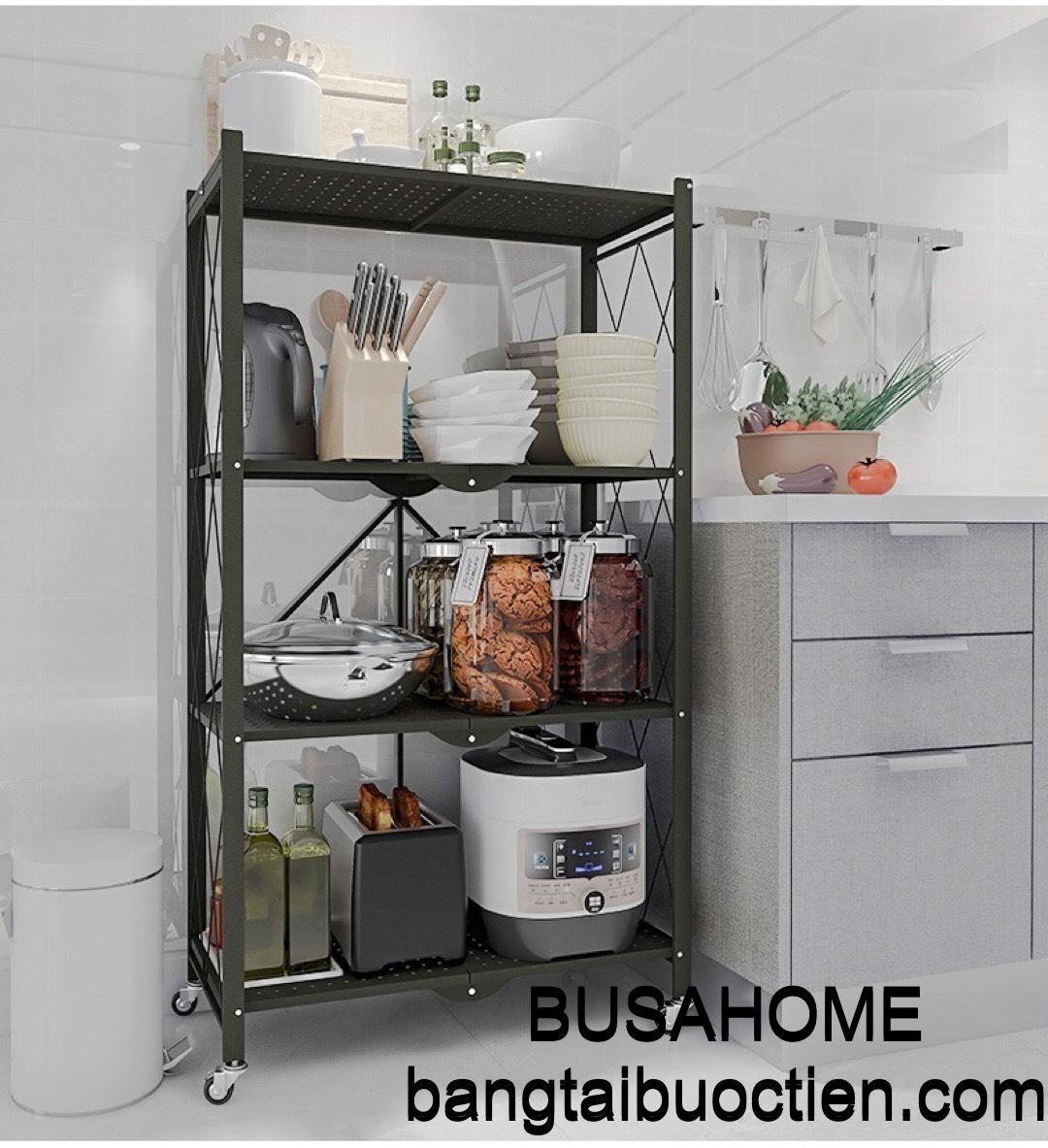 Kệ xếp gia đình 4 tầng để đồ dùng nhà bếp